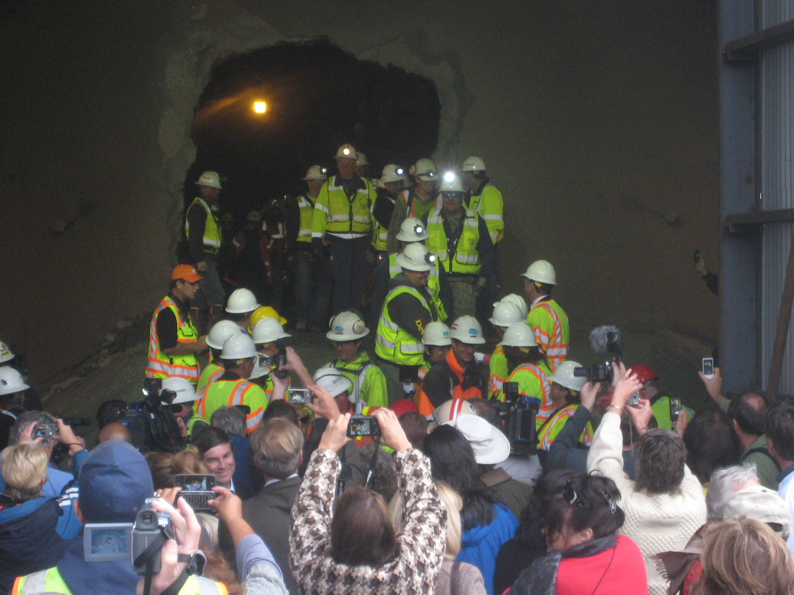 Crews are greeted by a crowd of guests during the breakthrough ceremony