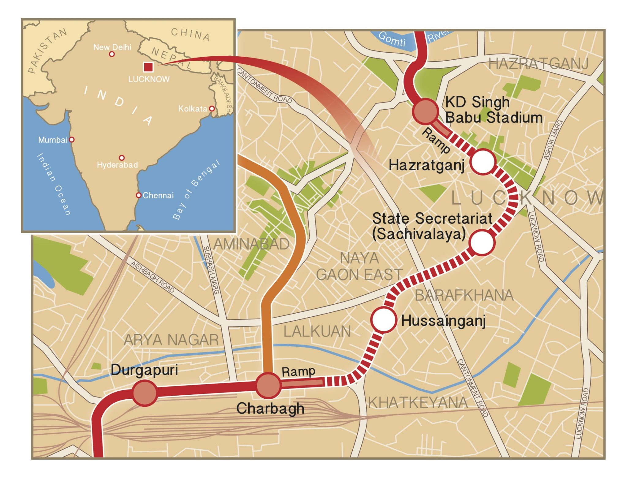 Lucknow Metro Map.Lucknow Metro Map The Tunnelling Journal